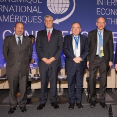 The International Economic Forum of the Americas. The Conference of Paris in the OECD in Paris. Hashim Thaci, Pierre Gattaz, Enrico Letta, Jean Charest, James McCormack